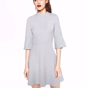 Zara Basic Gray 3/4 Sleeve Bell Sleeve Dress. L